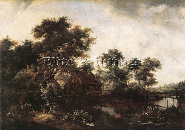 MEINDERT HOBBEMA THE WATER MILL ARTIST PAINTING REPRODUCTION HANDMADE OIL CANVAS