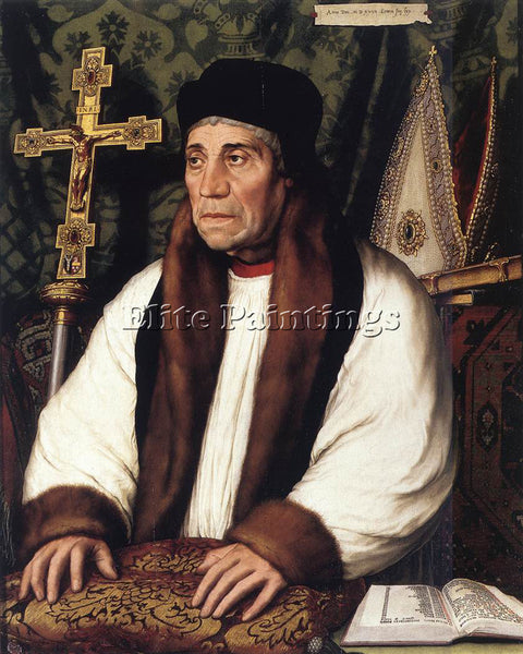 HANS HOLBEIN THE YOUNGER PORTRAIT WILLIAM WARHAM ARCHBISHOP CANTERBURY PAINTING