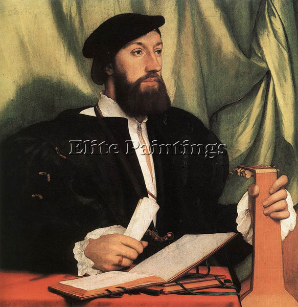 HANS HOLBEIN THE YOUNGER UNKNOWN GENTLEMAN WITH MUSIC BOOKS AND LUTE OIL CANVAS