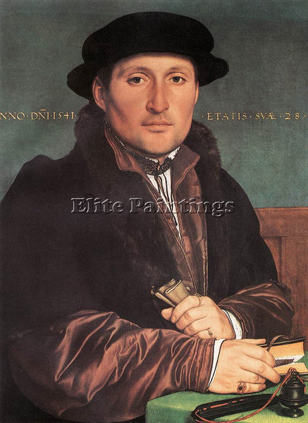 HANS HOLBEIN THE YOUNGER UNKNOWN YOUNG MAN AT HIS OFFICE DESK PAINTING HANDMADE