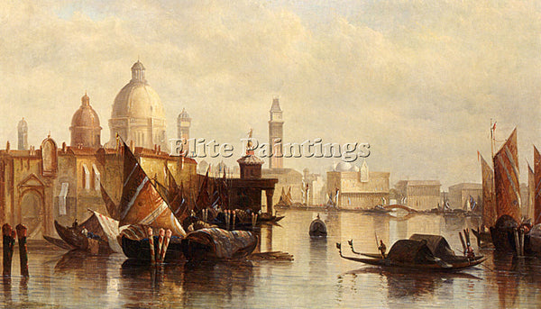 JAMES HOLLAND  A VIEW OF VENICE ARTIST PAINTING REPRODUCTION HANDMADE OIL CANVAS