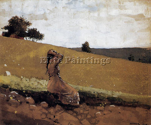 WINSLOW HOMER THE GREEN HILL AKA ON THE HILL ARTIST PAINTING HANDMADE OIL CANVAS