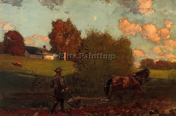 WINSLOW HOMER LAST FURROW ARTIST PAINTING REPRODUCTION HANDMADE OIL CANVAS REPRO