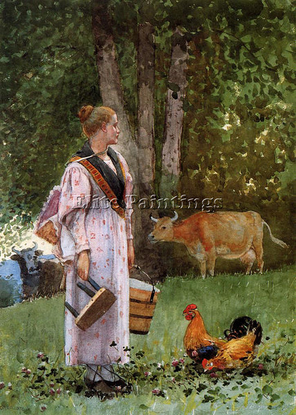 WINSLOW HOMER THE MILK MAID ARTIST PAINTING REPRODUCTION HANDMADE OIL CANVAS ART