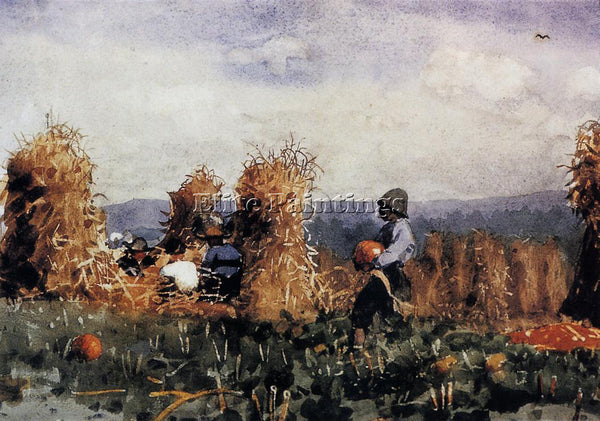 WINSLOW HOMER THE PUMPKIN PATCH ARTIST PAINTING REPRODUCTION HANDMADE OIL CANVAS