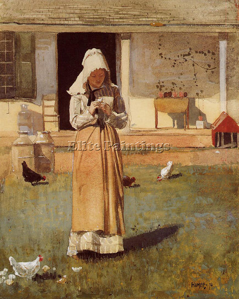 WINSLOW HOMER THE SICK CHICKEN ARTIST PAINTING REPRODUCTION HANDMADE OIL CANVAS