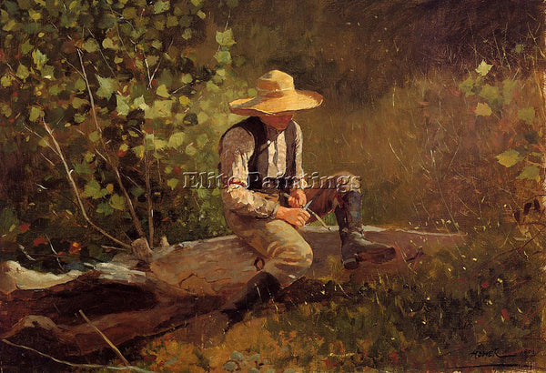 WINSLOW HOMER THE WHITTLING BOY ARTIST PAINTING REPRODUCTION HANDMADE OIL CANVAS