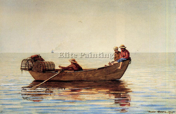 WINSLOW HOMER THREE BOYS IN A DORY WITH LOBSTER POTS ARTIST PAINTING HANDMADE