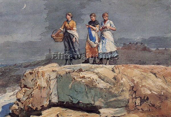WINSLOW HOMER WHERE ARE THE BOATS AKA ON THE CLIFFS ARTIST PAINTING REPRODUCTION