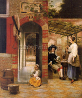 DUTCH HOOCH PIETER DE DUTCH APPROX 1629 1684 ARTIST PAINTING HANDMADE OIL CANVAS