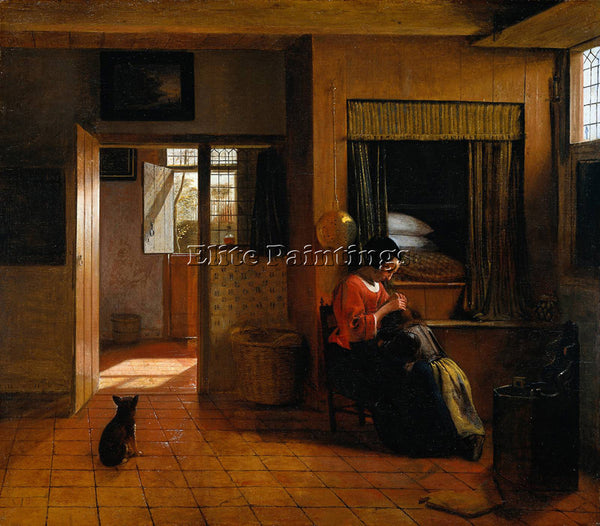 DE HOOCH INTERIOR WITH MOTHER DELOUSING HER CHILD S HAIR KNOWN AS MOTHER S DUTY