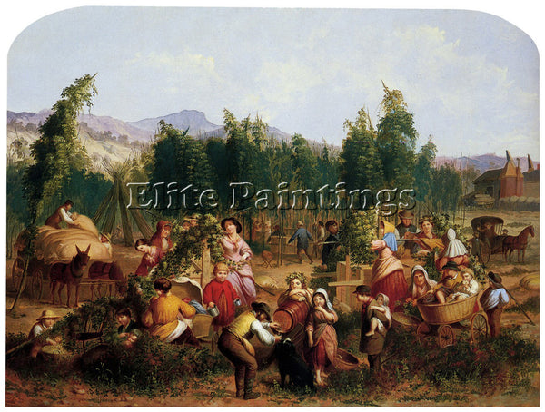 AMERICAN HOP PICKING 1862 ARTIST PAINTING REPRODUCTION HANDMADE OIL CANVAS REPRO