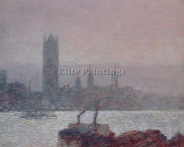 CHILDE HASSAM HOUSES OF PARLIAMENT EARLY EVENING ARTIST PAINTING HANDMADE CANVAS