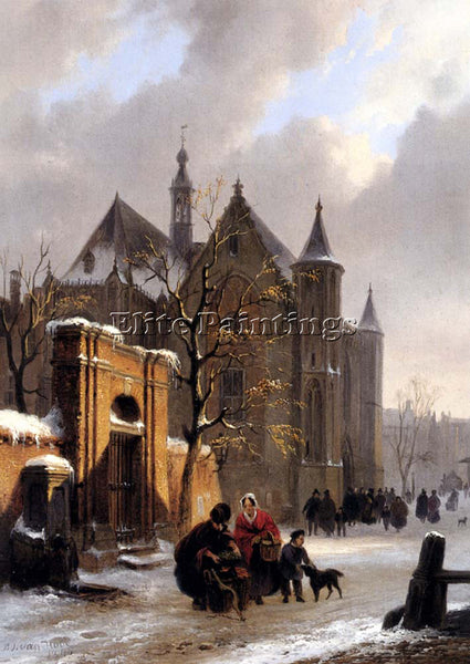 BARTHOLOMEUS VAN HOVE A CAPRICIO VIEW WITH FIGURES LEAVING CHURCH IN WINTER OIL