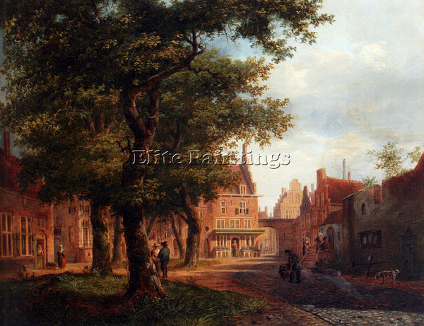 BARTHOLOMEUS HOVE A VILLAGE SQUARE WITH VILLAGERS CONVERSING UNDER TREES ARTIST