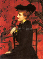 BRITISH HUDSON HENRY JOHN PORTRAIT OF A WOMAN WITH A BLACK HAT PAINTING HANDMADE