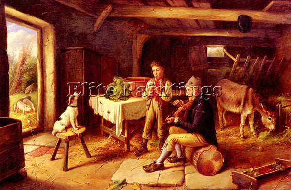 CHARLES HUNT A COTTAGE CONCERT ARTIST PAINTING REPRODUCTION HANDMADE OIL CANVAS
