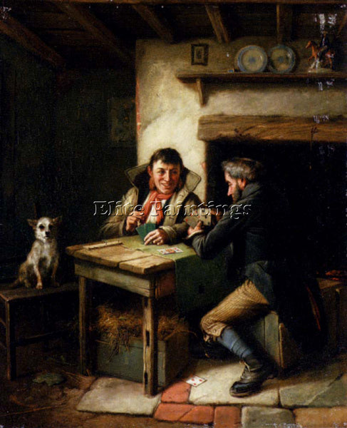 CHARLES HUNT THE CARD PLAYERS ARTIST PAINTING REPRODUCTION HANDMADE CANVAS REPRO