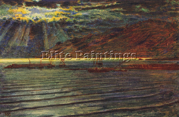 WILLIAM HOLMAN HUNT FISHINGBOATS BY MOONLIGHT ARTIST PAINTING REPRODUCTION OIL