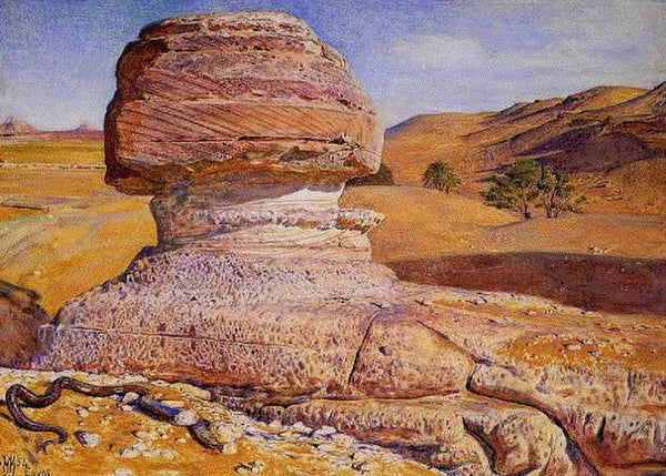 WILLIAM HOLMAN HUNT THE SPHINX GIZEH LOOKING TOWARDS PYRAMIDS SAKHARA ARTIST OIL