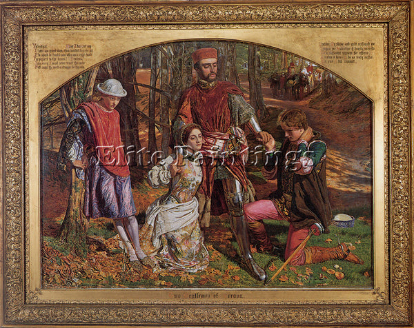 WILLIAM HOLMAN HUNT VALENTINE RESCUING SYLVIA FROM PROTEUS ARTIST PAINTING REPRO