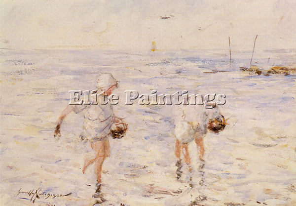 ROBERT GEMMELL HUTCHISON GATHERING SHELLS AT THE BEACH ARTIST PAINTING HANDMADE