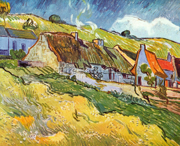 VAN GOGH HUTS IN AUVERS ARTIST PAINTING REPRODUCTION HANDMADE CANVAS REPRO WALL