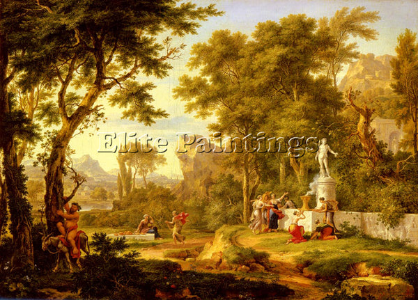 JAN VAN HUYSUM A CLASSICAL LANDSCAPE WITH THE WORSHIP OF BACCHUS ARTIST PAINTING