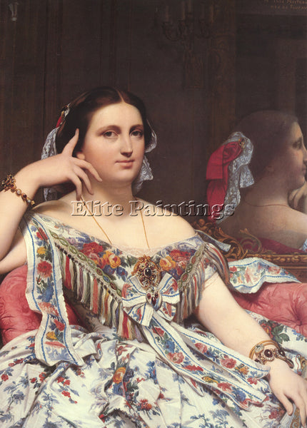 JEAN AUGUSTE DOMINIQUE INGRES MADAME MOITESSIER SEATED DETAIL PAINTING HANDMADE