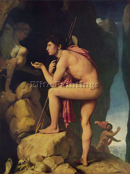 JEAN AUGUSTE DOMINIQUE INGRES OEDIPUS AND THE SPHINX ARTIST PAINTING HANDMADE
