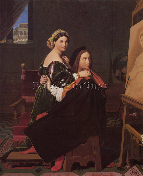 JEAN-AUGUSTE DOMINIQUE INGRES RAPHAEL AND THE FORNARINA ARTIST PAINTING HANDMADE