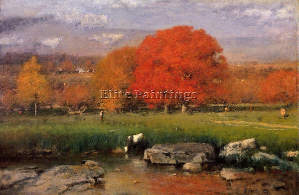 GEORGE INNESS MORNING CATSKILL VALLEY AKA THE RED OAKS ARTIST PAINTING HANDMADE