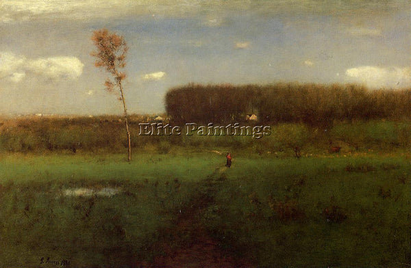 GEORGE INNESS OCTOBER NOON ARTIST PAINTING REPRODUCTION HANDMADE OIL CANVAS DECO