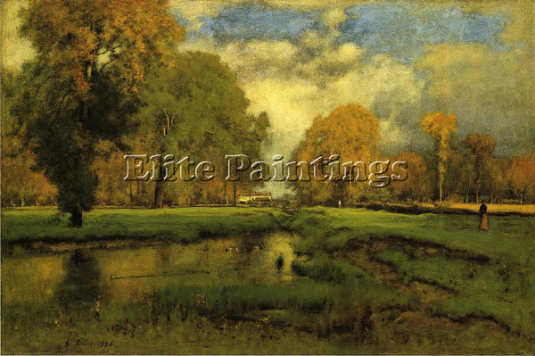 GEORGE INNESS OCTOBER ARTIST PAINTING REPRODUCTION HANDMADE OIL CANVAS REPRO ART