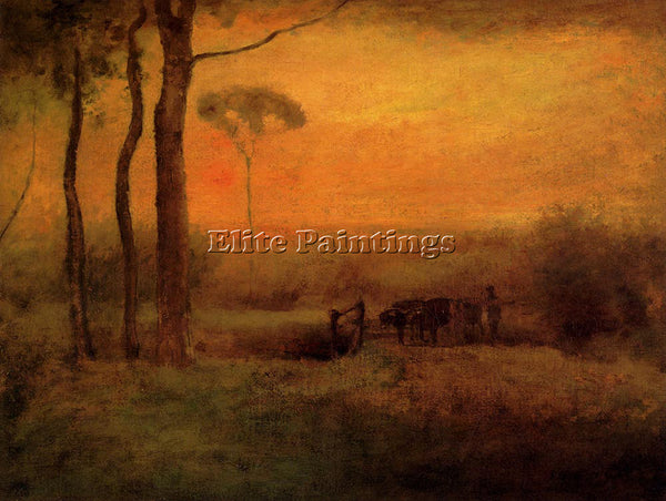 GEORGE INNESS PASTORAL LANDSCAPE AT SUNSET ARTIST PAINTING REPRODUCTION HANDMADE