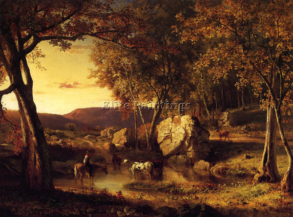 GEORGE INNESS SUMMER DAYS CATTLE DRINKING LATE SUMMER EARLY AUTUMN REPRODUCTION