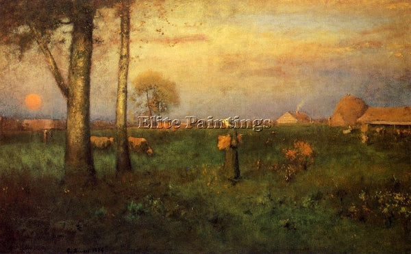 GEORGE INNESS SUNDOWN ARTIST PAINTING REPRODUCTION HANDMADE OIL CANVAS REPRO ART