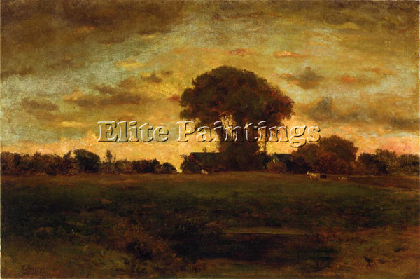 GEORGE INNESS SUNSET ON A MEADOW ARTIST PAINTING REPRODUCTION HANDMADE OIL REPRO