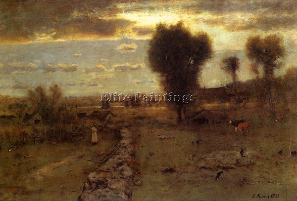 GEORGE INNESS THE CLOUDED SUN ARTIST PAINTING REPRODUCTION HANDMADE CANVAS REPRO