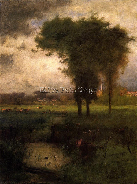 GEORGE INNESS WOODLAND SCENE ARTIST PAINTING REPRODUCTION HANDMADE CANVAS REPRO