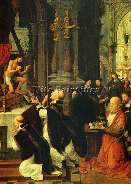 ADRIAEN ISENBRANDT THE MASS OF ST GREGORY ARTIST PAINTING REPRODUCTION HANDMADE