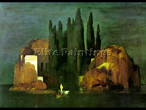 SWISS ISLAND OF THE DEAD ARTIST PAINTING REPRODUCTION HANDMADE CANVAS REPRO WALL