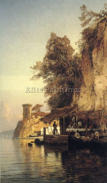 HERMANN DAVID SOLOMON CORRODI ITALIAN FISHERFOLD BY SEA SOUTHERN ITALY PAINTING