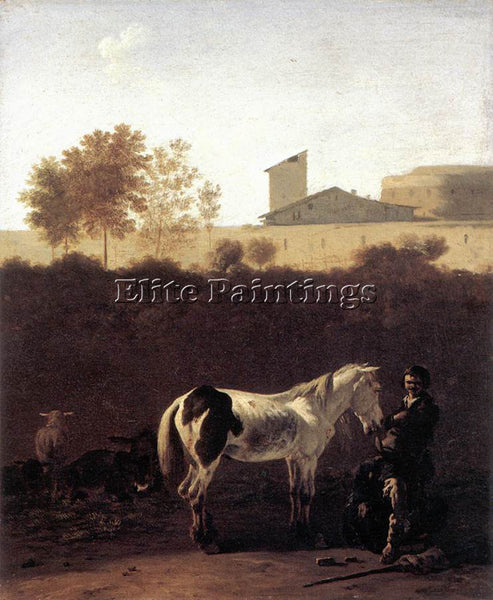 KAREL DUJARDIN ITALIAN LANDSCAPE WITH HERDSMAN AND A PIEBALD HORSE REPRODUCTION