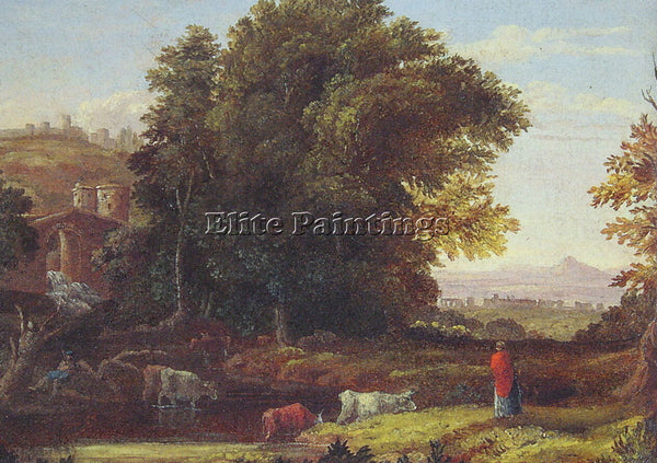 GEORGE INNESS ITALIAN LANSCAPE WITH ADUEDUCT ARTIST PAINTING HANDMADE OIL CANVAS