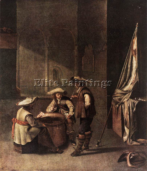 HOLLAND JACOB DUCK GUARDROOM WITH SOLDIERS PLAYING CARDS ARTIST PAINTING CANVAS