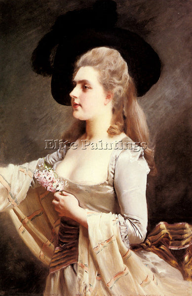 GUSTAVE JEAN JACQUET AN ELEGANT LADY IN A BLACK HAT ARTIST PAINTING REPRODUCTION