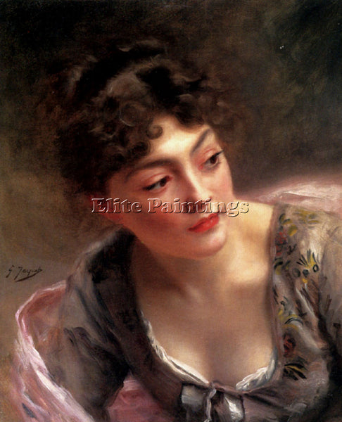 GUSTAVE JEAN JACQUET A QUICK GLANCE ARTIST PAINTING REPRODUCTION HANDMADE OIL
