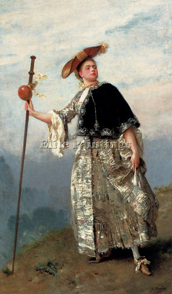 GUSTAVE JEAN JACQUET ON THE HILLTOP ARTIST PAINTING REPRODUCTION HANDMADE OIL
