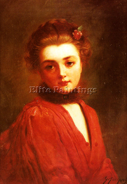 GUSTAVE JEAN JACQUET PORTRAIT OF A GIRL IN A RED DRESS ARTIST PAINTING HANDMADE